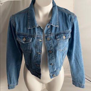 SHEIN cropped light/medium wash jean jacket S